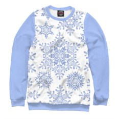Голубой женский свитшот Снежинки