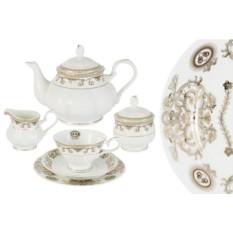 Фарфоровый чайный сервиз на 6 персон Версаче Золотой