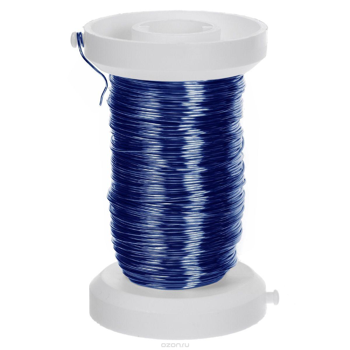 Декоративная проволока Glorex, цвет: синий, 0,25 мм х 40 м