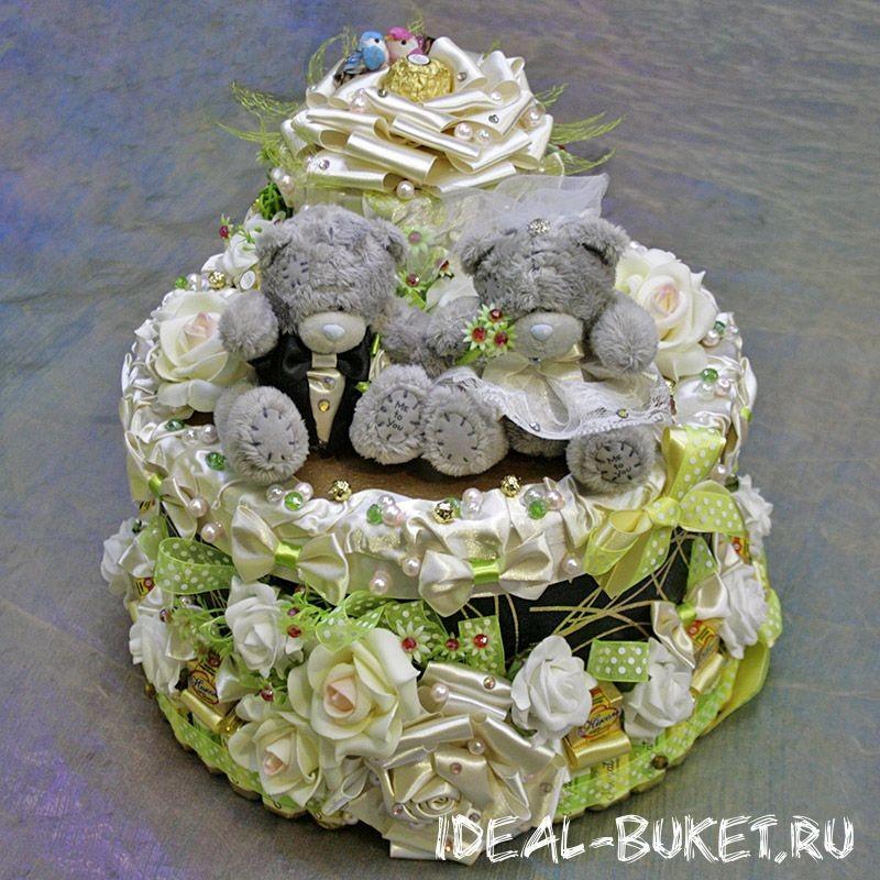 Торт-шкатулка Свадебный Тедди