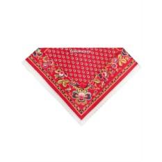 Красная скатерть Ализарин с кружевом