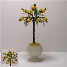 Миниатюрное дерево счастья из опала в вазочке из оникса