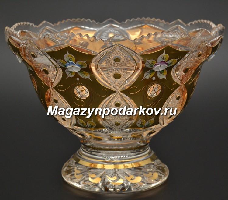 Конфетница Bohemia Яхами, золото, 25,5 см