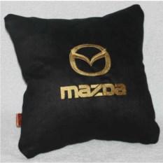 Черная подушка с золотой вышивкой Mazda