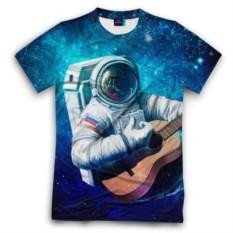 Мужская футболка 3D Космонавт с гитарой