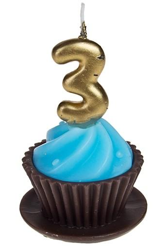 Свеча Пирожное с цифрой 3 голубая