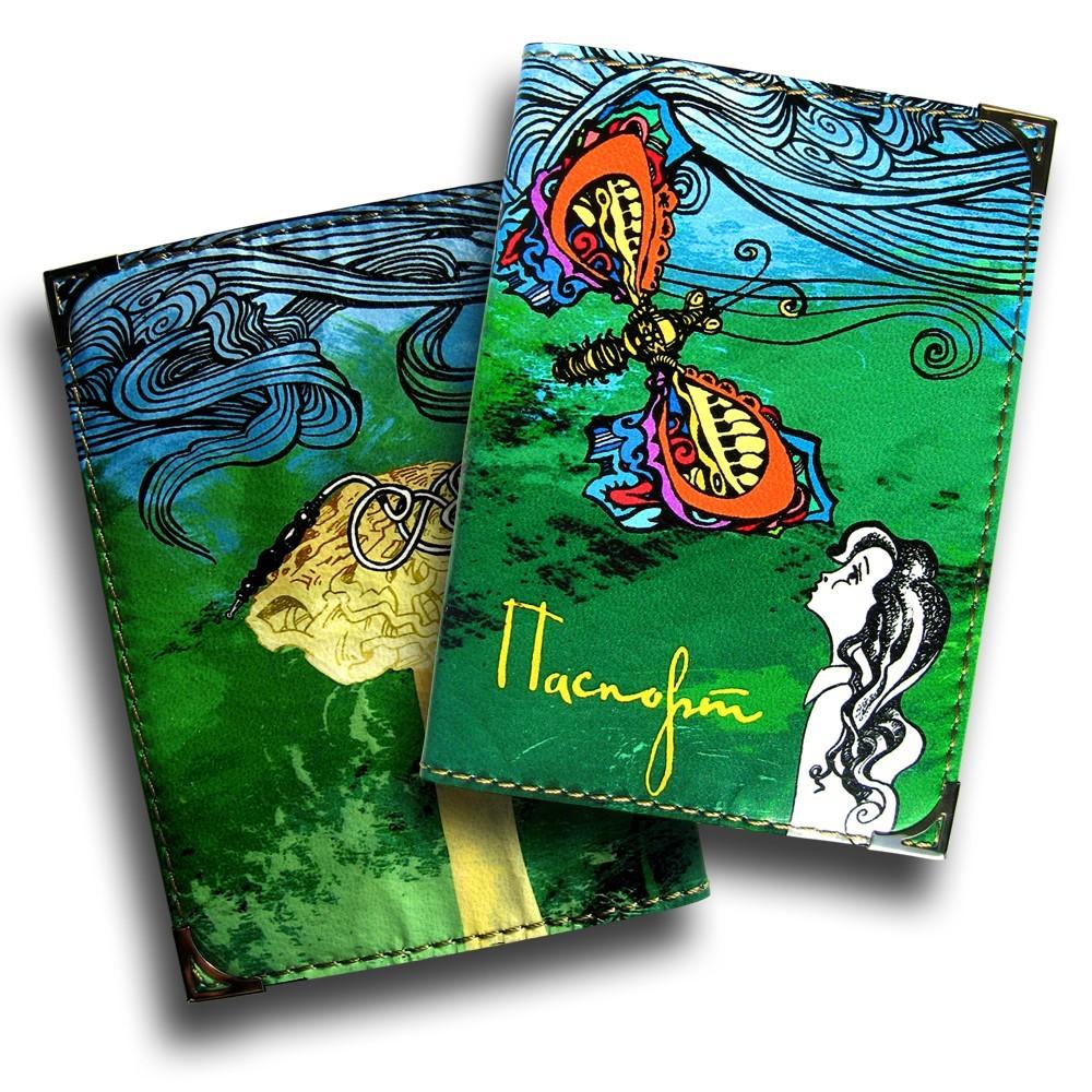 Дизайнерская обложка для паспорта Синяя гусеница