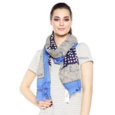 Сине-серый женский шарф с бахромой Mario Spado