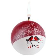 Свеча ручной работы «Снегири на снегу» в форме шара