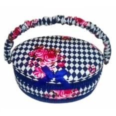 Бело-синяя круглая шкатулка для рукоделия с подносом