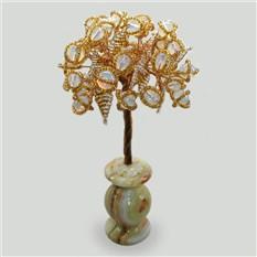 Дерево симпатии и любви из лунного камня в вазочке из оникса