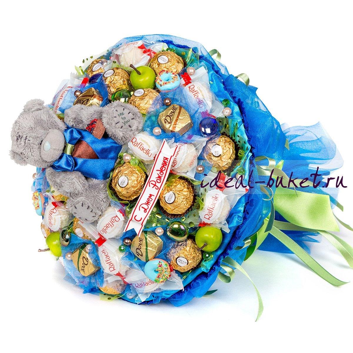 Голубой букет из конфет