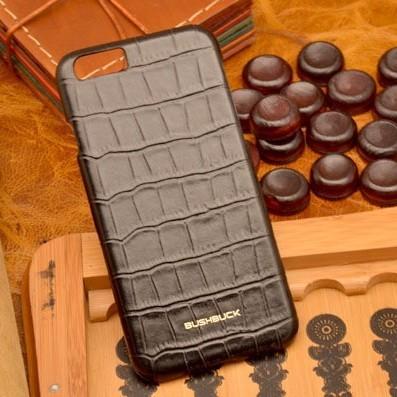 Кожаный чехол-накладка для iPhone 6S/6 Черный крокодил