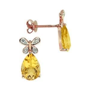 Серьги из белого золота с бриллиантом и цитрином