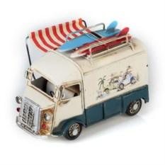 Ретро-модель Бело-синий автобус с фоторамкой и подставкой