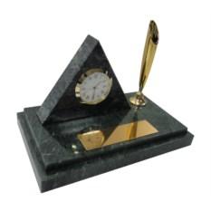 Мраморный настольный набор из ручки и часов