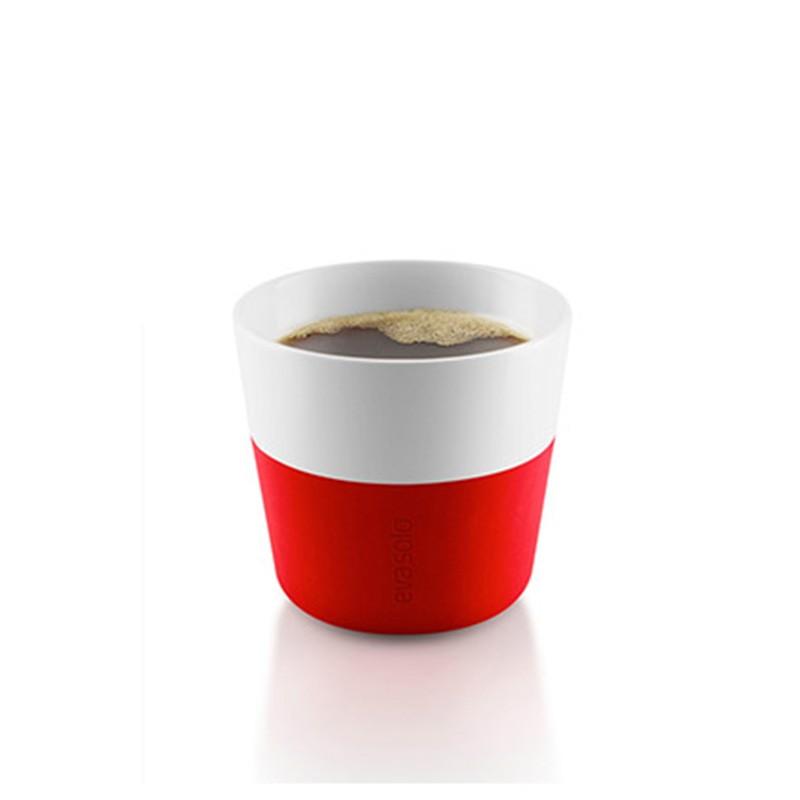 Красные фарфоровые чашки Lungo