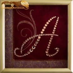 Картина Swarovski Инициал А'', 86 кристаллов, 12х12 см