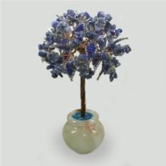 Дерево из лазурита Лазурный рассвет в вазочке из оникса