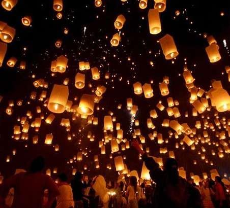 Набор небесных фонариков из 15 средних разноцветных конусов