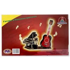 Цветная сборная модель из дерева «Гитара и пианино»