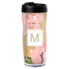 Именной термостакан «Розовые цветы»