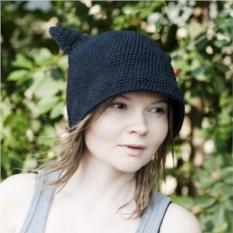 Чёрная хлопковая шляпа с ушками