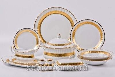 Столовый сервиз Bavarian Porcelain Лента Рельеф на 6 персон