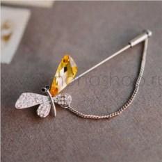 Брошь-игла «Порхание бабочки» с цепочкой