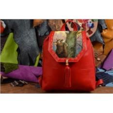 Красный кожаный рюкзак с принтом Ангел на дереве
