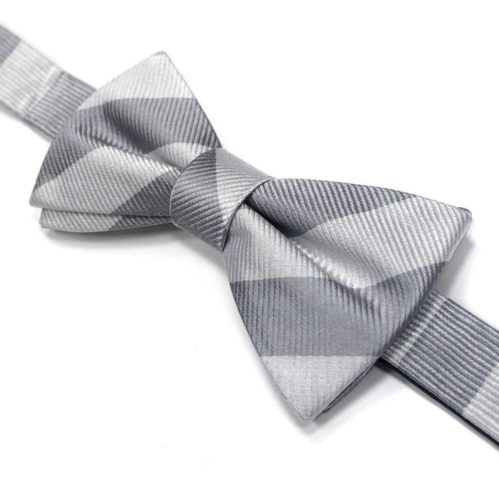 Белый галстук бабочка с серыми полосками Laura Biagiotti