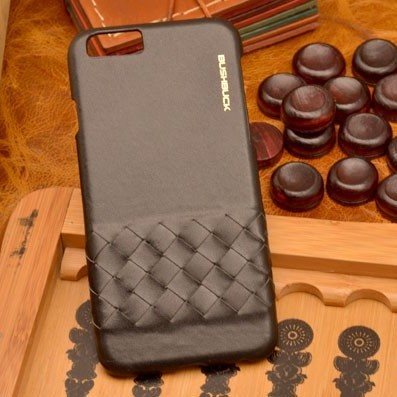 Черный кожаный чехол-накладка для iPhone 6S/6