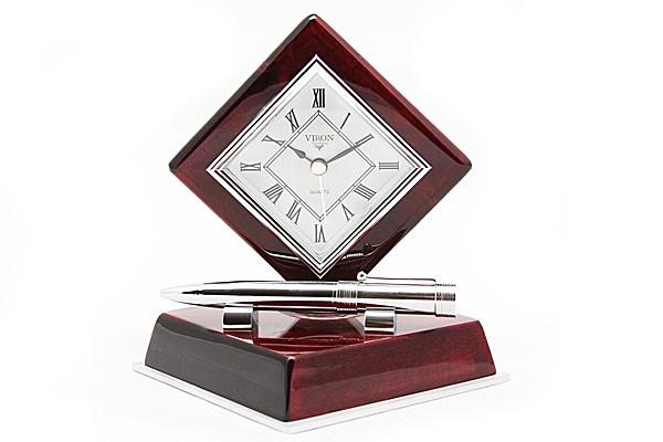 Настольный набор с часами и ручкой VIRON