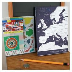 Блокнот с картой мира и наклейками Worldmap