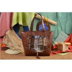 Коричневая сумка-шопер Уютная улочка Elole Design