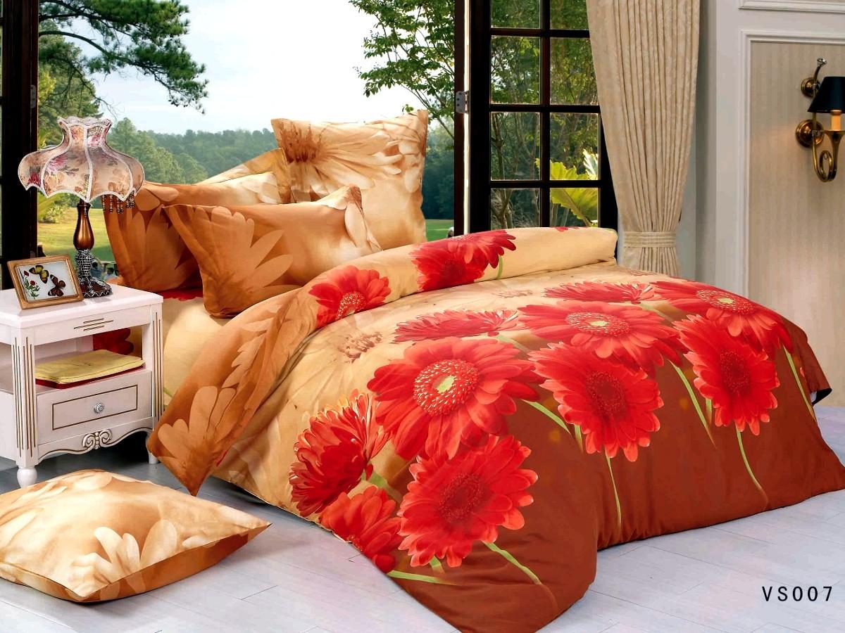 Евро комплект постельного белья, красные герберы