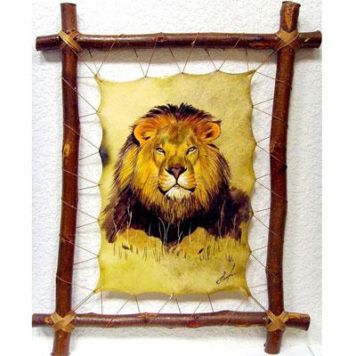 Картина на коже «Голова льва»
