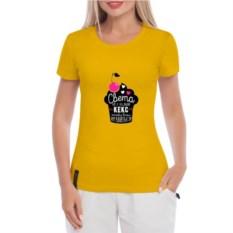 Желтая женская футболка Не сладкий кекс