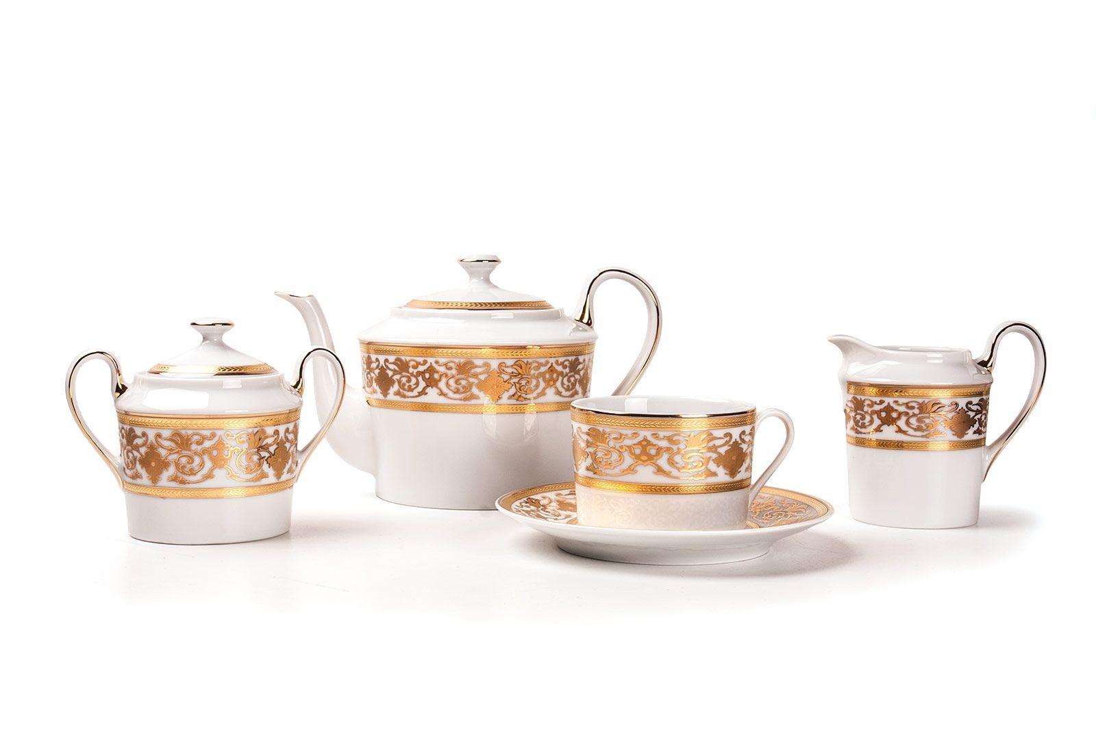 Фарфоровый чайный сервиз на 6 персон RAMSES OR MIMOSA