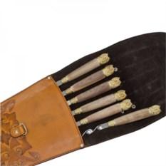 Подарочные шампура 6 штук в колчане Мудрые совы