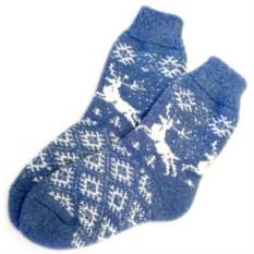 Шерстяные носки Синие с оленями