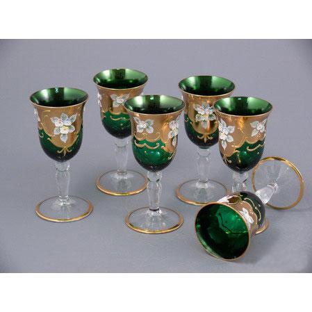 Набор рюмок для ликера из 6шт зеленый