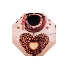 Женский зонт с принтом кофе Flioraj