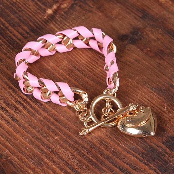 Браслет с гравировкой Грация, цвет розовый