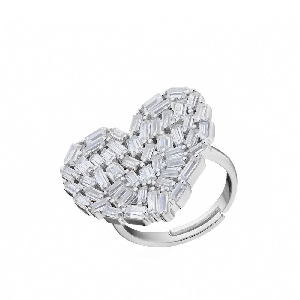 Серебряное кольцо в форме сердца с крупными фианитами