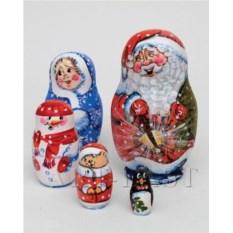 Матрешка Семейка Деда Мороза (высота 16 см)