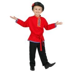 Детская льняная красная косоворотка