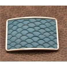 Пряжка для ремня с кожаной вставкой. Коллекция G.Design (синий, рыба; нат. кожа)