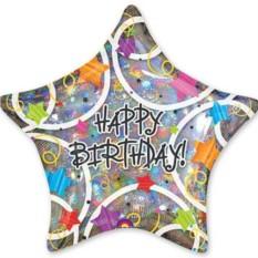 Фольгированная большая звезда Happy Birthday