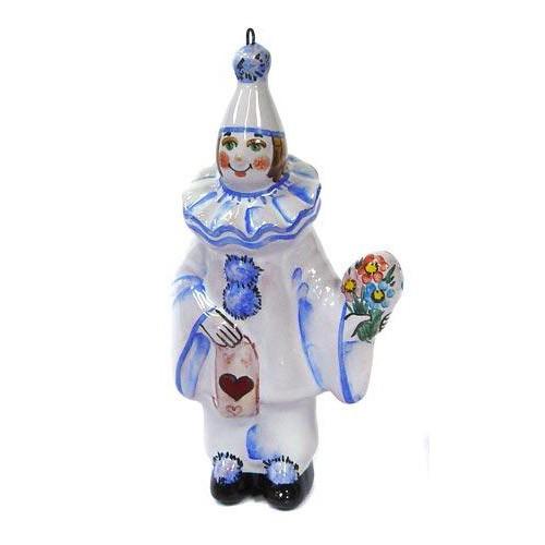 Ёлочная игрушка Пьеро с букетом